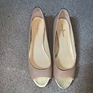 Nude and gold Cole Haan flats size 7.5